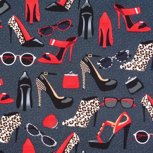 Patchworkstoff Baumwollstoff Shoe Love Schuhe Accessoires grau