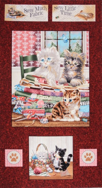 Krafty Kitten Katzen Nähutensilien Panel