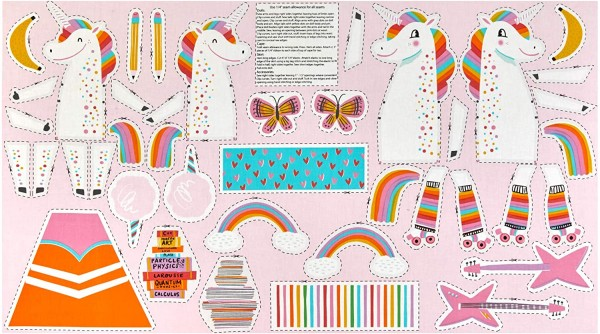Patchworkstoff Panel DIY Einhorn Magical Unicorn Kinder