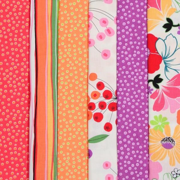 SALE Stoffpaket Baumwollstoff Blumen Sunkissed 6 Stoffe