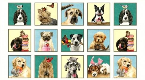 Patchworkstoff Hunde Doggie Drama Panel 0,6 m